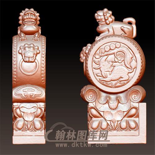 石雕麒麟抱鼓石雕门墩圆雕图(YBG-006)
