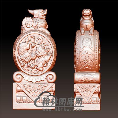 双狮石雕抱鼓石雕门墩圆雕图(YBG-010)