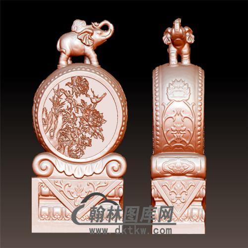 大象牡丹石雕抱鼓石雕门墩圆雕图(YBG-012)