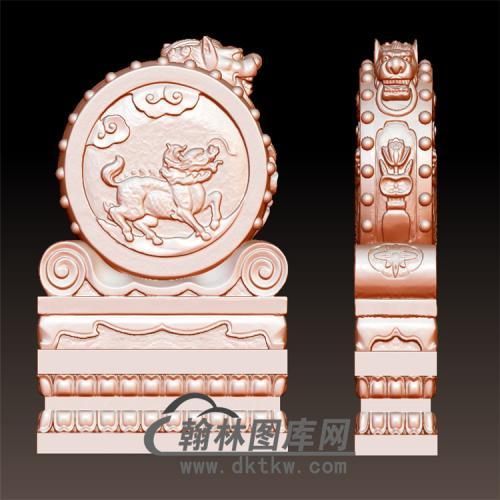 麒麟石雕抱鼓石雕门墩圆雕图(YBG-013)
