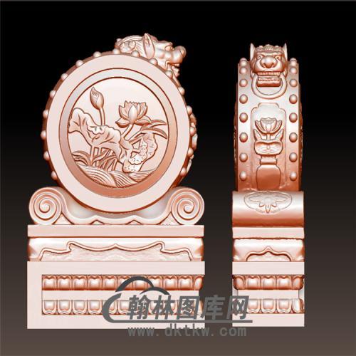 荷花狮头石雕抱鼓石雕门墩圆雕图(YBG-014)