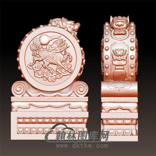 麒麟狮头石雕抱鼓石雕门墩圆雕图(YBG-015)
