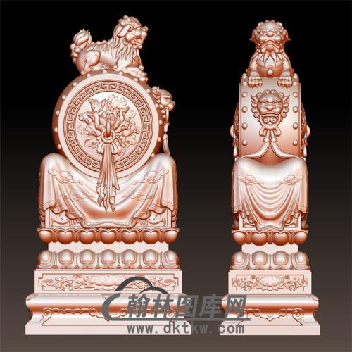 牡丹石雕抱鼓石雕门墩圆雕图(YBG-016)