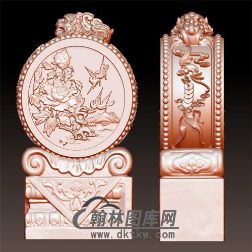 花鸟牡丹石雕抱鼓石雕门墩圆雕图(YBG-018)