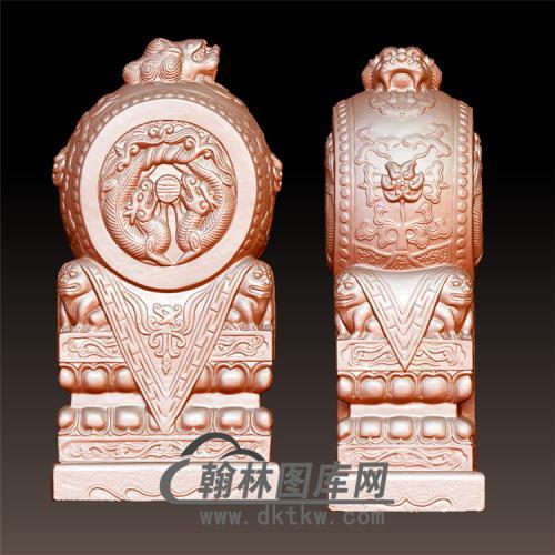双龙石雕抱鼓石雕门墩圆雕图(YBG-019)