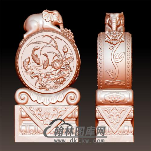 荷花鱼石雕抱鼓石雕门墩圆雕图(YBG-021)