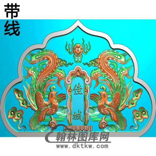 双凤碑头精雕图(MBBT-0492)