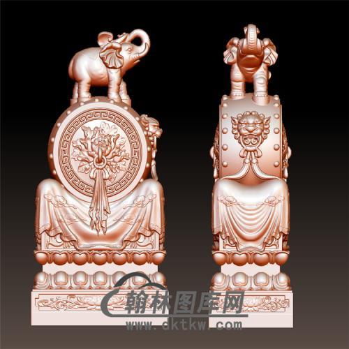 牡丹石雕抱鼓石雕门墩圆雕图(YBG-025)