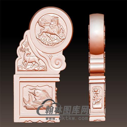 鱼石雕抱鼓石雕门墩圆雕图(YBG-026)