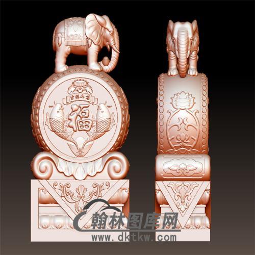 双鱼石雕抱鼓石雕门墩圆雕图(YBG-028)