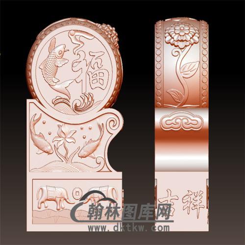 福鱼石雕抱鼓石雕门墩圆雕图(YBG-029)
