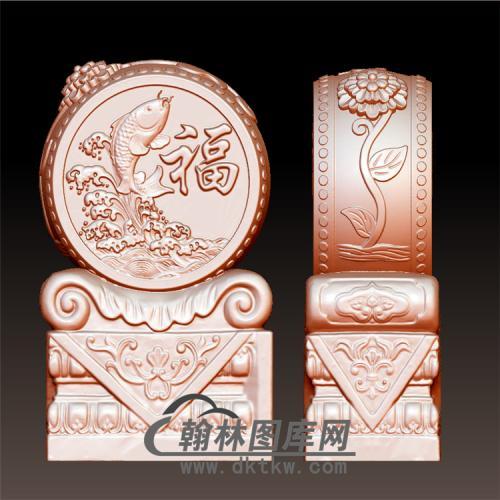 福鱼石雕抱鼓石雕门墩圆雕图(YBG-031)