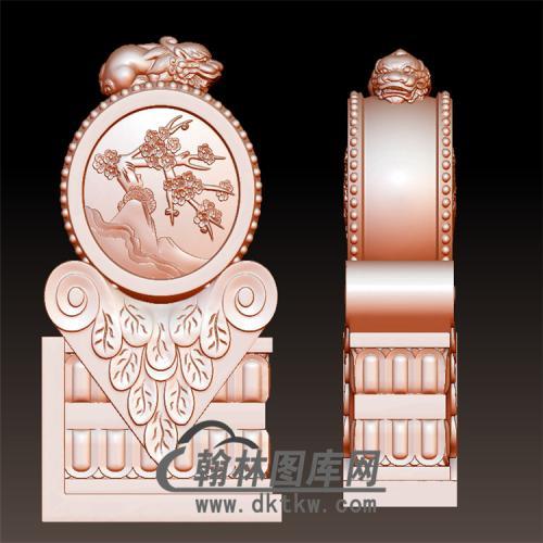 梅花石雕抱鼓石雕门墩圆雕图(YBG-032)