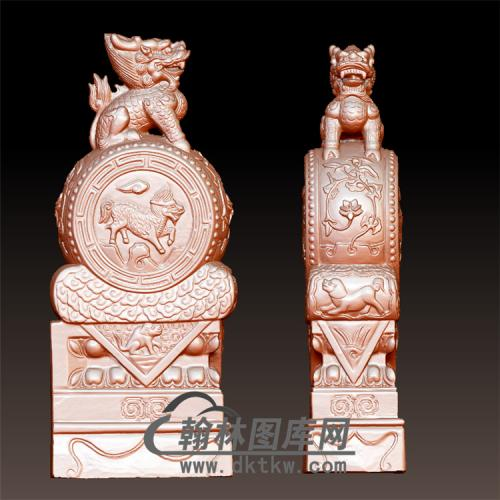 麒麟石雕抱鼓石雕门墩圆雕图(YBG-033)