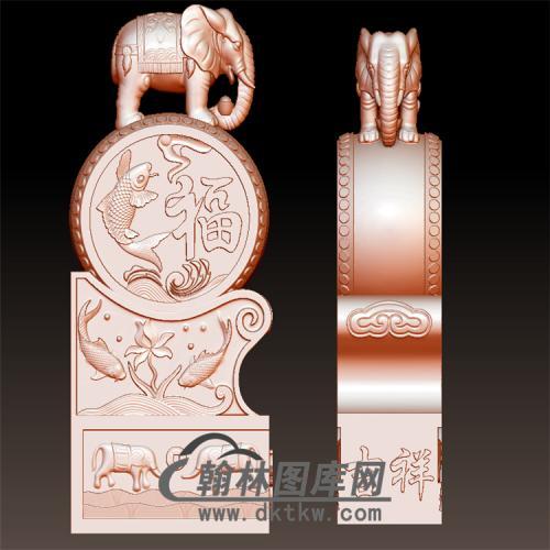 大象鱼福石雕抱鼓石雕门墩圆雕图(YBG-034)