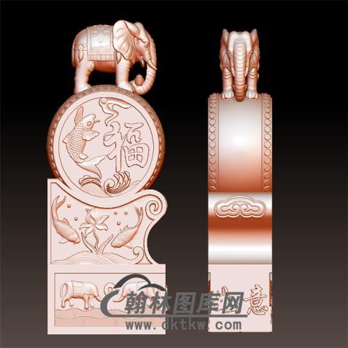 大象石雕抱鼓石雕门墩圆雕图(YBG-035)