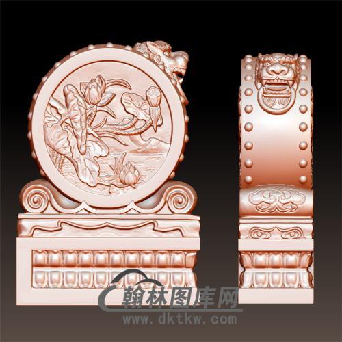 荷花石雕抱鼓石雕门墩圆雕图(YBG-036)
