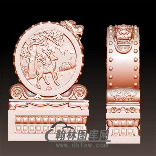 鹿石雕抱鼓石雕门墩圆雕图(YBG-038)