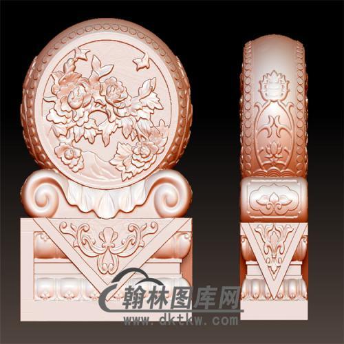 牡丹石雕抱鼓石雕门墩圆雕图(YBG-039)