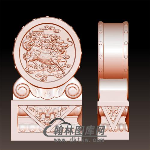 麒麟石雕抱鼓石雕门墩圆雕图(YBG-040)