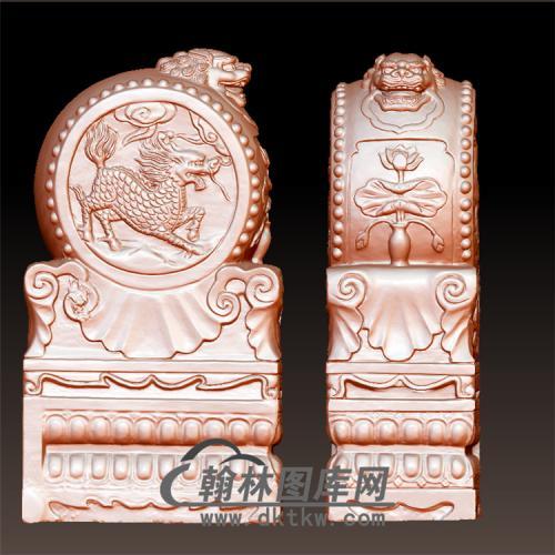 麒麟石雕抱鼓石雕门墩圆雕图(YBG-041)