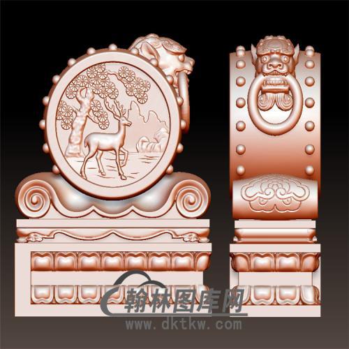 鹿石雕抱鼓石雕门墩圆雕图(YBG-042)