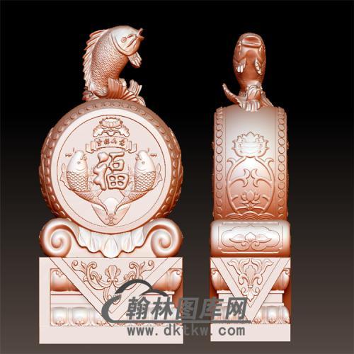 鱼石雕抱鼓石雕门墩圆雕图(YBG-046)
