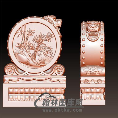竹子石雕抱鼓石雕门墩圆雕图(YBG-048)
