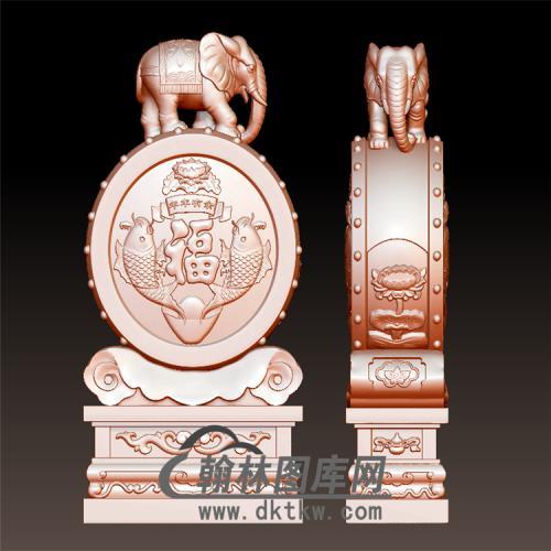 大象石雕抱鼓石雕门墩圆雕图(YBG-049)