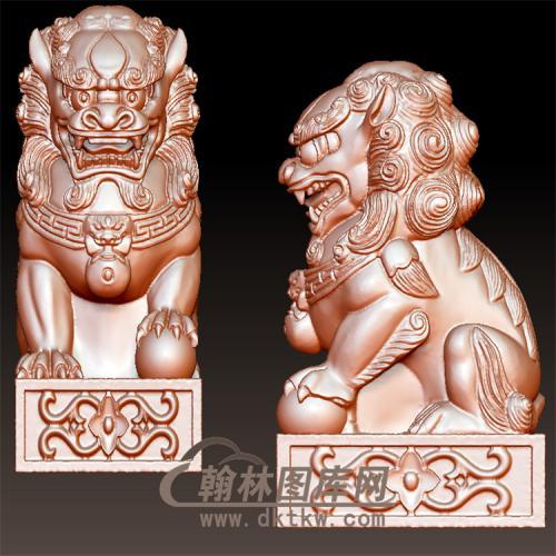 栏杆小狮子母立体圆雕图(YSX-065)