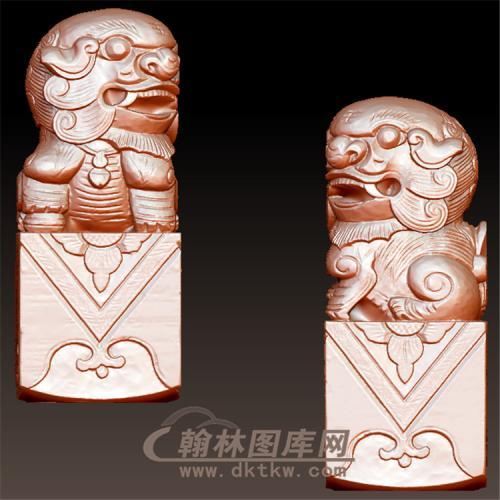 木材狮子立体圆雕图(YSX-067)