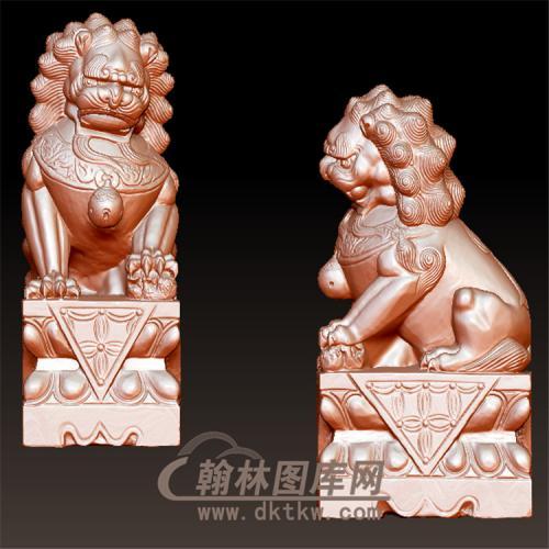 石雕狮子立体圆雕图(YSX-068)