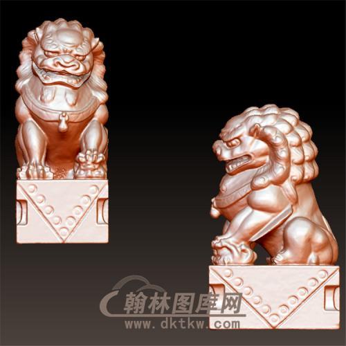 石雕狮子立体圆雕图(YSX-069)