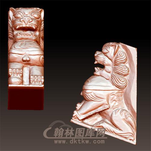 三面石狮新立体圆雕图(YSX-072)