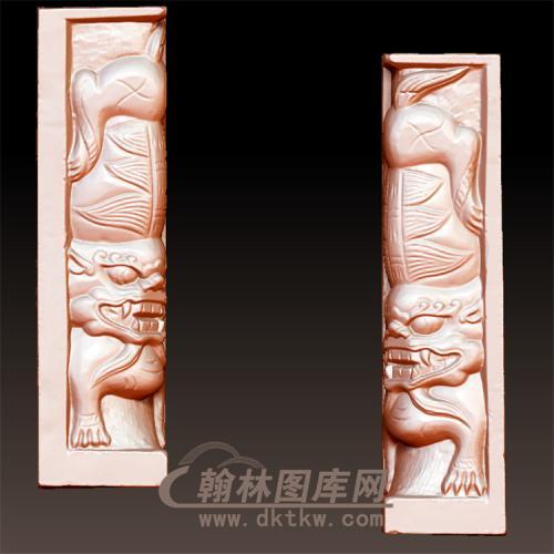 狮子柱立体圆雕图(YSX-095)