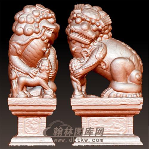 石狮子立体圆雕图(YSX-096)
