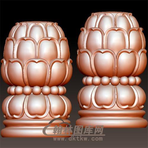莲花瓣珠子柱头stl立体圆雕图(YZT-002)
