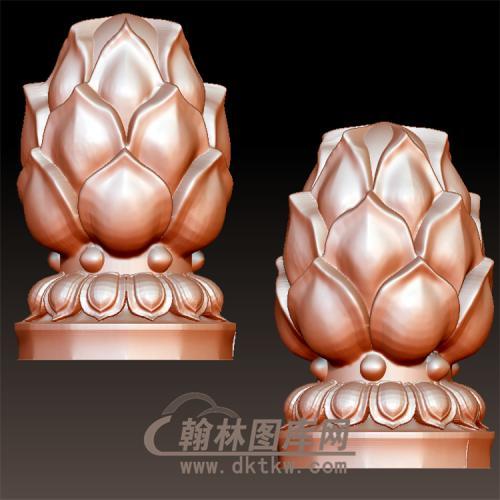 莲花柱头立体圆雕图(YZT-004)