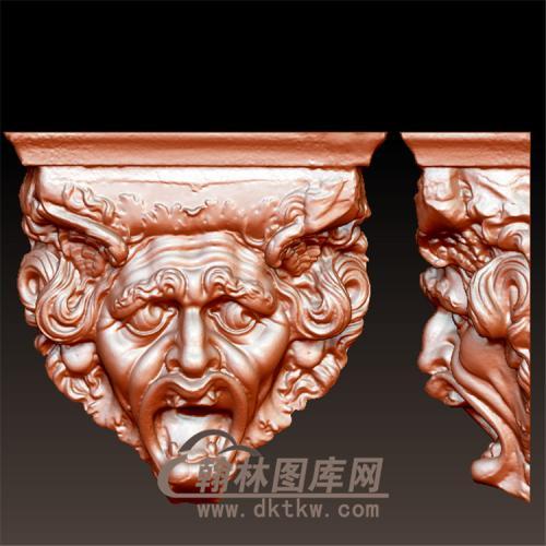 欧式罗马柱柱子托梁人脸立体圆雕图(YZT-042)