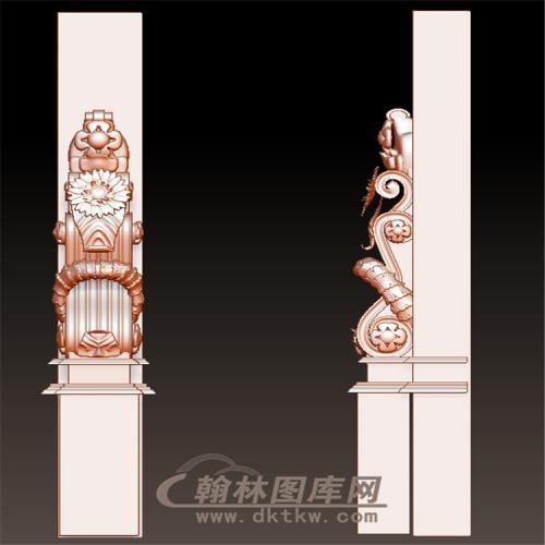 欧式洋花罗马柱托梁立体圆雕图(YZT-044)