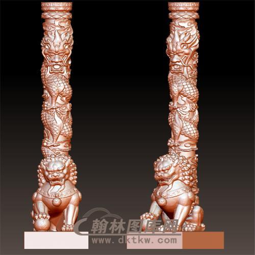 墓碑龙狮立体圆雕图(YML-001)
