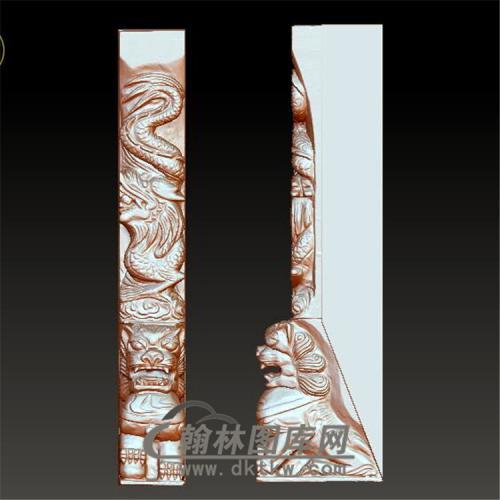 墓碑龙狮立体圆雕图(YML-005)