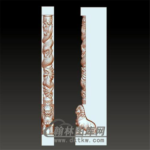 墓碑龙狮立体圆雕图(YML-006)