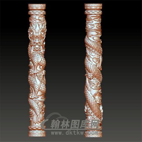 石碑盘龙柱立体圆雕图(YML-007)