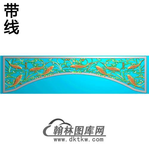 荷花鱼碑板精雕图(MBBB-1498 )