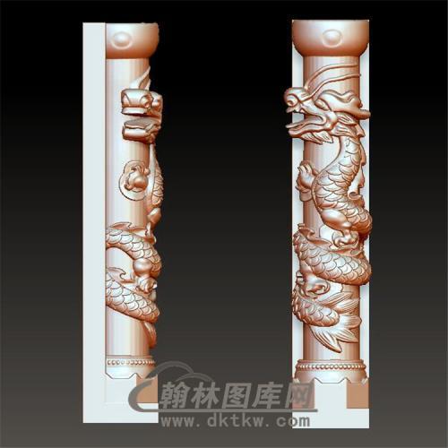盘龙柱立体圆雕图(YML-016)