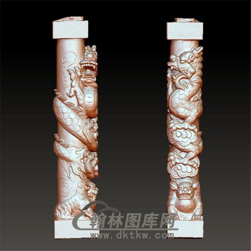 石材龙柱龙狮立体圆雕图(YML-018)