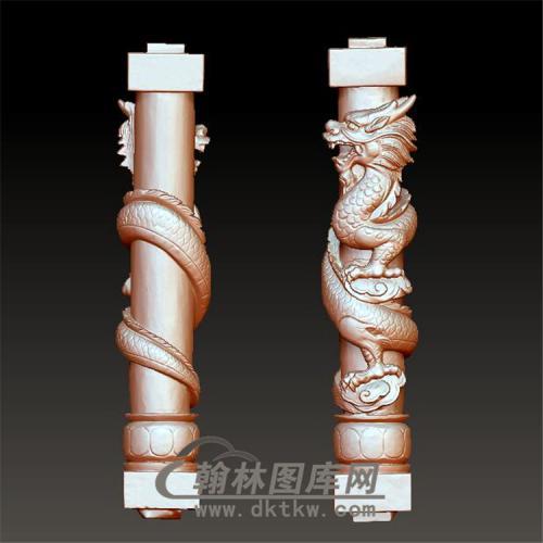 石材龙柱立体圆雕图(YML-023)