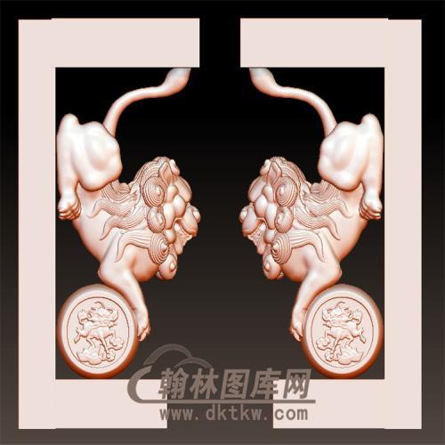 扁头狮子立体圆雕图(YML-024)