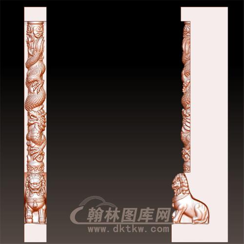 墓碑龙狮立体圆雕图(YML-028)